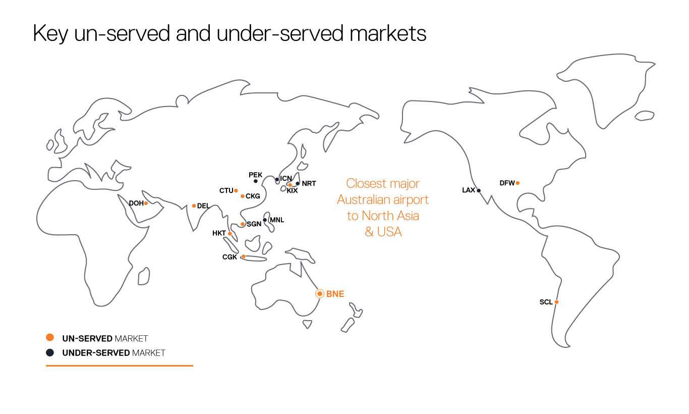 Brisbane Airport Underserved and Unserved markets map
