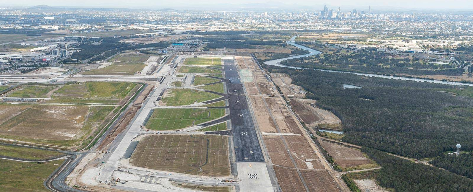 Aerial of Brisbane's new runway from July 2019