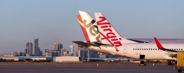 Virgin Australia, Jetstar and Qantas Aircraft at Brisbane Airport