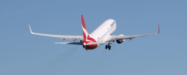 Qantas Aircraft departing Brisbane Airport