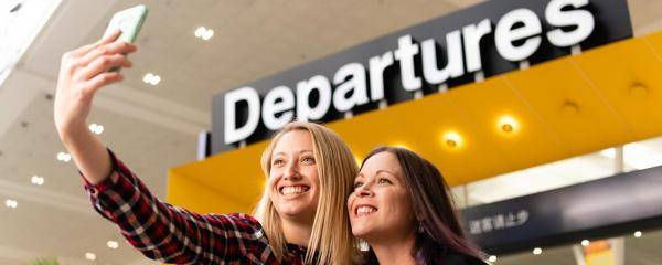 Take a selfie at Departures