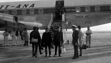 The Beatles arrive at Brisbane Airport