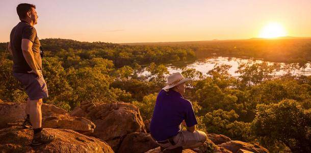 Bram Collins (in hat) and Michael Nelson watching a sunrise over the '100 Mile Wetland' which fills with water only once every two decades (on average) | Queensland's volcanic history uncovered